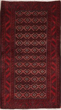 Hand-Knotted Red Geometric Balouch Bokhara Persian Area Rug Wool 4x6