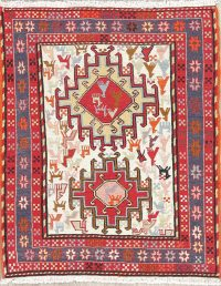 Hand-Woven Ivory Tribal Kilim Shiraz Persian Rug Wool 2x3