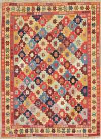 Hand-Woven Geometric Kilim Shiraz Persian Area Rug Wool 4x5