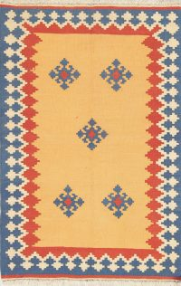 Hand-Woven Geometric Kilim Shiraz Persian Rug Wool 3x5