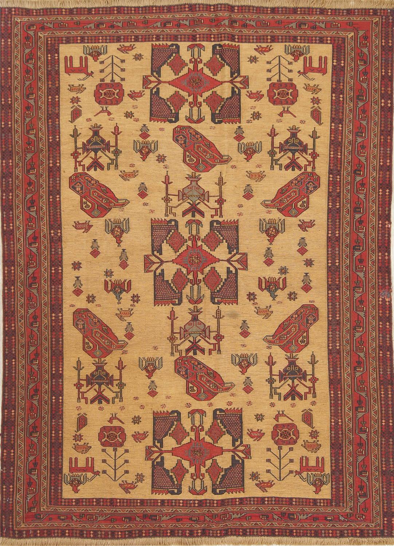 Hand-Woven Tribal Geometric Sumak Kilim Shiraz Persian Area Rug Wool 4x6