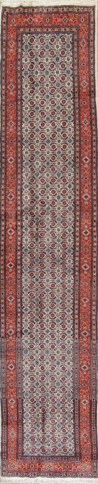 All-Over Floral Ivory Bidjar Persian Hand-Knotted Runner Rug Wool 3x13