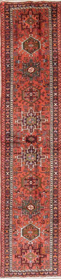 Geometric Red Tribal Gharajeh Persian Runner Rug Wool 2x13