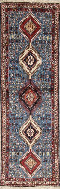 Vegetable Dye Light Blue Yalameh Persian Oriental Runner Rug Wool 3x7