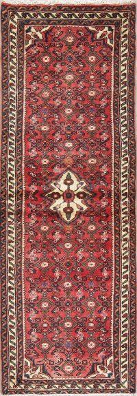 Geometric Red Hamedan Persian Hand-Knotted Runner Rug Wool 2x7