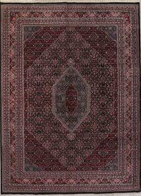 Geometric Black Bidjar Indian Oriental Hand-Knotted Area Rug Wool 9x12