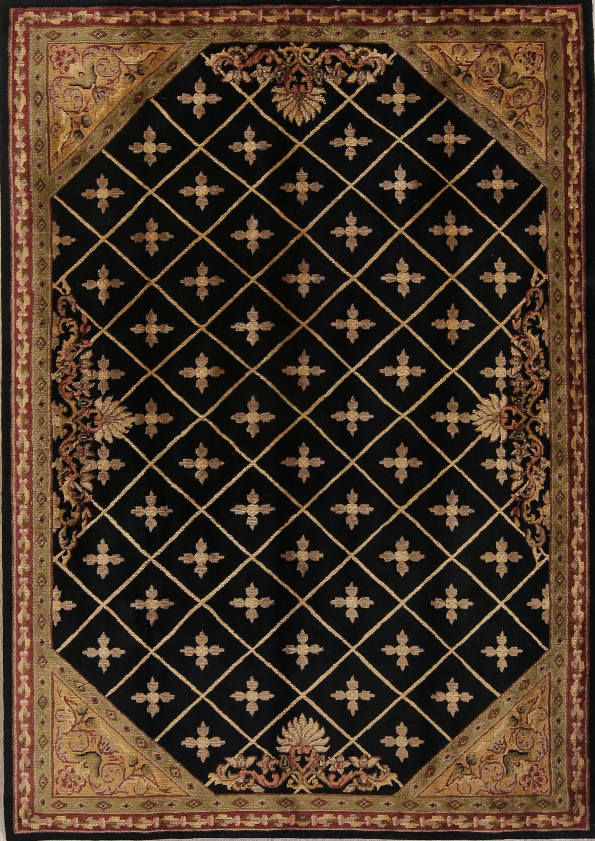Geometric Black Nepal Indian Oriental Hand-Knotted Area Rug Wool 6x9