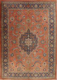 Pre-1900 Rust Vegetable Dye Tabriz Persian Antique Area Rug Wool 10x14