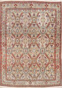 Antique Vegetable Dye Ivory Qum Qom Persian Area Rug Wool 7x10
