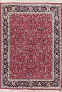 Floral Red Sarouk Oriental Hand-Knotted Area Rug Wool 9x12