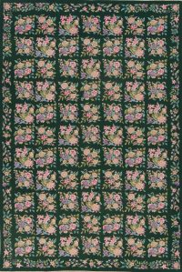 Hunter Green Floral Aubusson Needle-point Chinese Woven Area Rug Wool 6x9