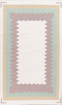 Contemporary Ivory Kilim Dhurrie Oriental Hand-Woven Area Rug Wool 6x9