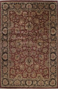 Mansion Floral Burgundy Agra Oriental Hand-Knotted Rug Wool 12x18