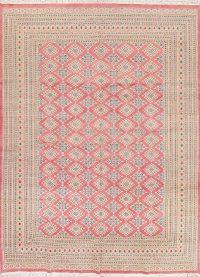 Geometric Pink Bokhara Pakistan Oriental Hand-Knotted Area Rug Wool 10x14