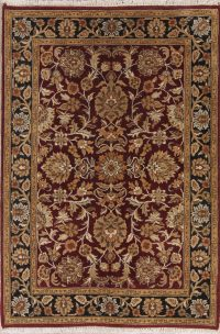 Floral Red Agra Indian Oriental Hand-Knotted Area Rug Wool 4x6