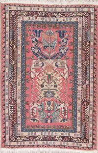 Geometric Pink Sumak Turkish Oriental Area Rug Wool 4x6