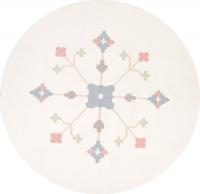 Geometric Ivory Dhurrie Kilim Hand-Woven Round Rug Wool 8x8
