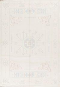 Geometric Ivory Kilim Indian Oriental Hand-Woven Area Rug Wool 6x9