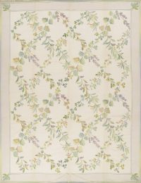 Floral Ivory Aubusson Chinese Oriental Hand-Woven Area Rug Wool 9X12