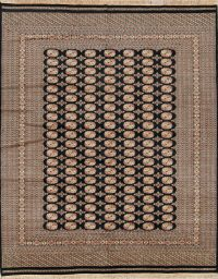 Geometric Black Bokhara Pakistan Oriental Hand-Knotted Area Rug Wool 8x10