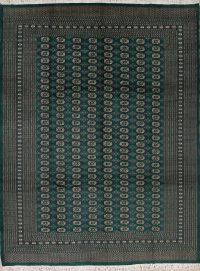 Geometric Green Bokhara Pakistan Oriental Hand-Knotted Area Rug Wool 9x12