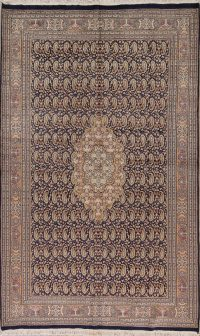 Paisley Navy Blue Kashan Oriental Hand-Knotted Area Rug Wool 6x10