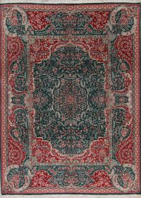 Floral Teal Green Aubusson Oriental Hand-Knotted Area Rug Wool 9x12