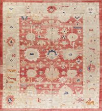 Geometric Red Oushak Turkish Oriental Hand-Knotted Area Rug Wool 6x9