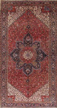 Palace Sized Geometric Red Heriz Serapi Persian Area Rug Wool 10x18