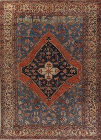 Pre-1900 Antique Geometric Blue Heriz Serapi Bakhshayesh Persian Area Rug 11x15