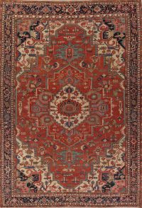 Pre-1900 Antique Vegetable Dye Geometric Heriz Serapi Persian Area Rug 12x16