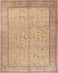Geometric Beige Oushak Turkish Oriental Hand-Knotted Area Rug Wool 10x13