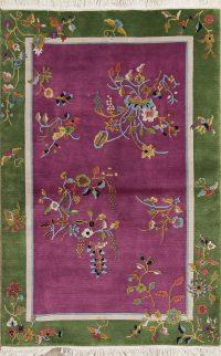 Purple Art Deco Chinese Oriental Handmade Area Rug Wool 4x6