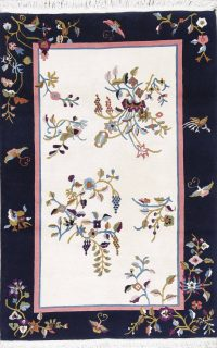 Floral Ivory Art Deco Chinese Oriental Area Rug Wool 4x6