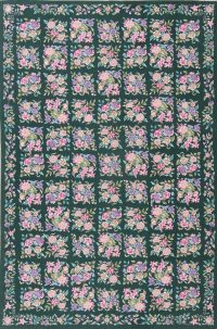 Floral Green Aubusson Chinese Oriental Area Rug Wool 7x10