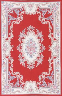 Floral Red Aubusson Chinese Oriental Area Rug Wool 5x9