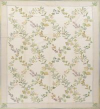 Transitional Green Aubusson Chinese Oriental Hand-Woven Area Rug Wool 9x12