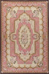 Transitional Pink Aubusson Chinese Oriental Hand-Woven Area Rug 11x17