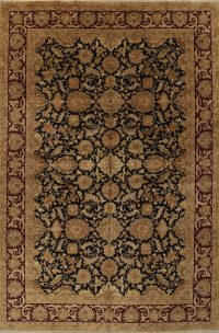 Floral Black Agra Persian Hand-Knotted Area Rug Wool 12x18