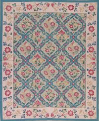 Floral Blue Aubusson Chinese Oriental Hand-Woven Area Rug Wool 8x10