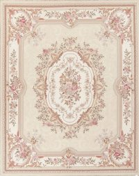 Floral Beige Aubusson Chinese Oriental Hand-Woven Area Rug Wool 8x10