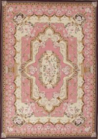Floral Pink Aubusson Chinese Oriental Hand-Woven Area Rug Wool 9X13