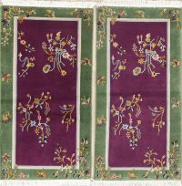 Pack Of Two Floral Purple Art Deco Chinese Oriental Hand-Knotted Rug Wool 2x4