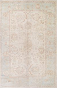 Vegetable Dye Muted Ivory Oushak Turkish Hand-Knotted Area Rug 12x18