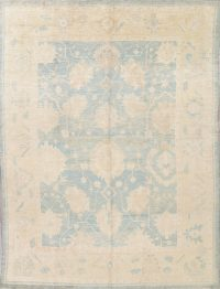 Vegetable Dye Muted Blue Oushak Turkish Hand-Knotted Area Rug 10x14