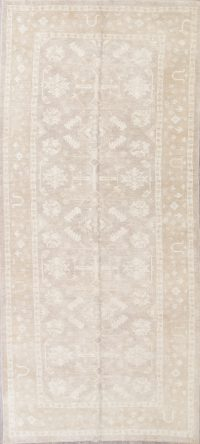 Vegetable Dye Muted Tan Oushak Turkish Hand-Knotted Runner Rug 7x16