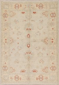 Vegetable Dye Muted Gold Oushak Turkish Hand-Knotted Area Rug 4x6
