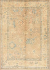 Vegetable Dye Muted Brown Oushak Turkish Hand-Knotted Area Rug 6x8