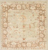 Vegetable Dye Muted Green Oushak Turkish Hand-Knotted Square Rug 6x6