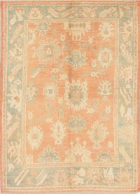 Vegetable Dye Muted Rust Oushak Turkish Hand-Knotted Area Rug 6x8